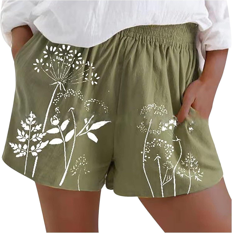 Womens Teen Girls Cotton Linen Elastic Waist Dandelion Shorts Soft Comfy Lightweight Printed Pajama Pants