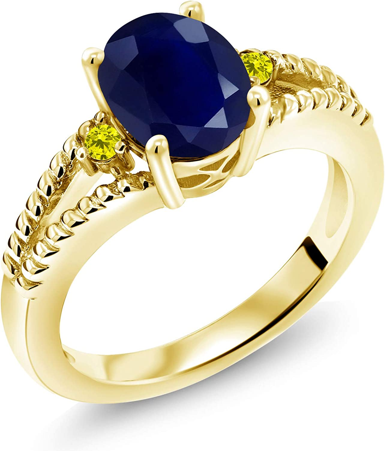 Gem Stone King 2.55 Ct Oval Spring new work one after another Japan's largest assortment Sapphire Blue Yel 18K Diamond Canary