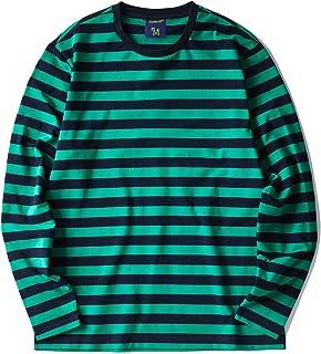 Zengjo Men`s Casual Cotton Spandex Striped Crewneck Long-Sleeve T-Shirt Basic Pullover Stripe tee Shirt