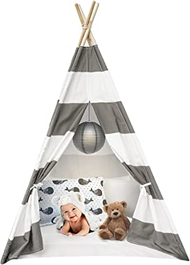 Sorbus Kids Foldable Teepee Play Tent Playhouse Classic Indian Style Play Tent and Carry Bag, Walls with Door, Window and Flo
