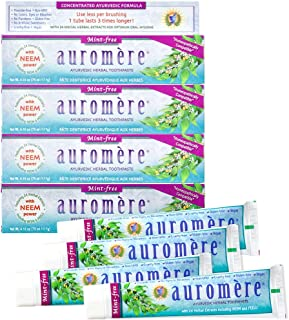 Auromere Ayurvedic Herbal Toothpaste, Mint Free - Vegan, Natural, Non GMO, Flouride Free, Gluten Free, with Neem & Peelu (4.16 oz), 4 Pack