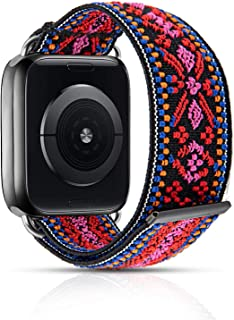 MEULOT Stretchy Braided Watch Band Compatible with Apple Watch Band Series 4 3 SE 6 5 2 1, Adjustable Elastic Soft Watch B...