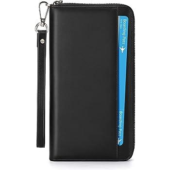 [Verbesserte] Reisepass Tasche Leder Reisedokumententasche Reiseorganizer mit RFID-Blocker | Tragbare wasserdichte Reisepasshülle Ausweistasche Dokumente Organizer für Damen und Herren | Schwarz