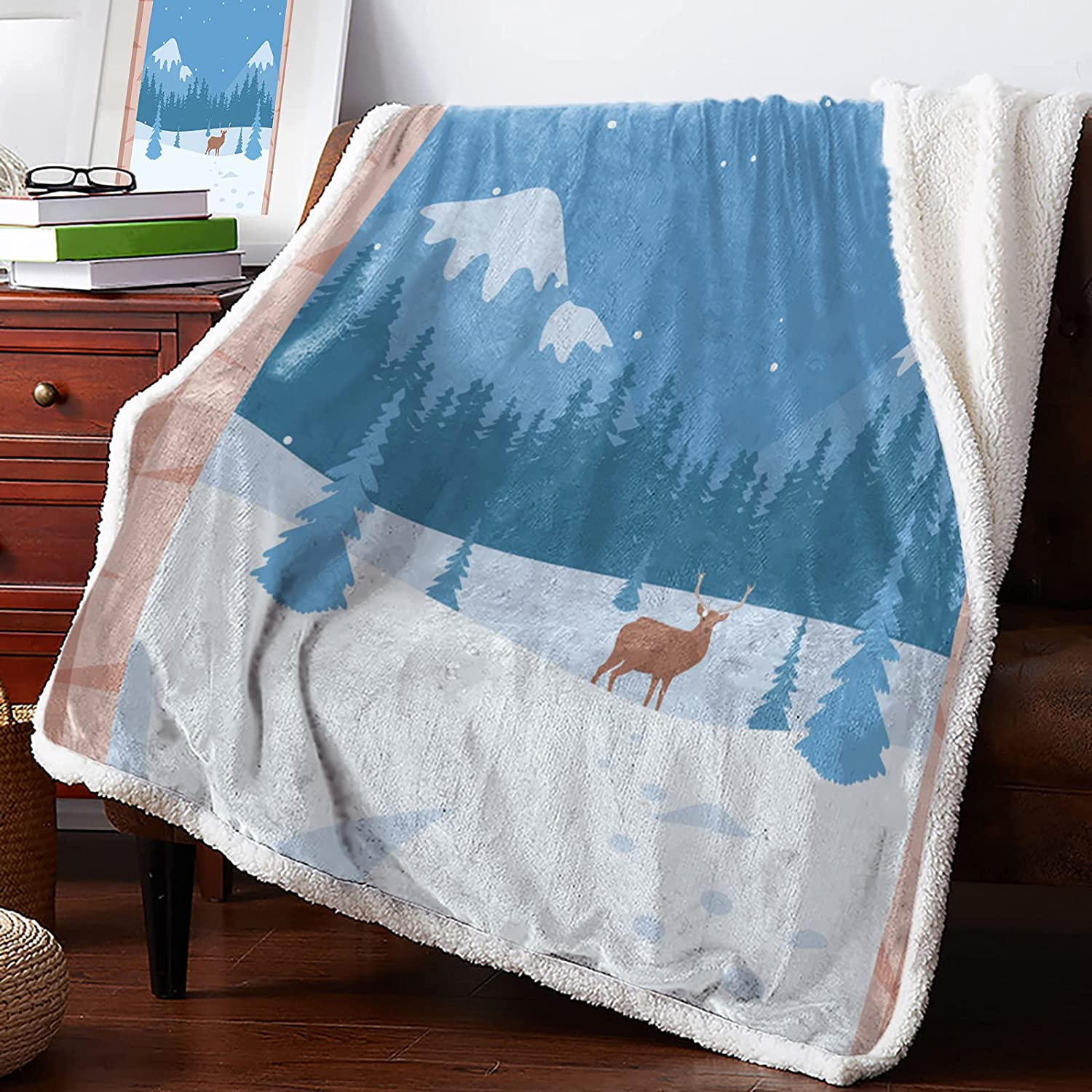 MuswannaA Sherpa Fleece Throw Blanket in Sup Today's only Reindeer Forest The Colorado Springs Mall