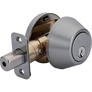 AmazonBasics Deadbolt - Single Cylinder - Satin Nickel