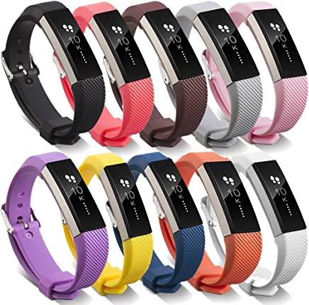 [10 Color Pack] for Fitbit Alta Band with Stainless Steel Clasp, TDRTECH Replacement Silicone Band Strap for Fitbit Alta HR and Alta, 10 Hot Color - Small Size