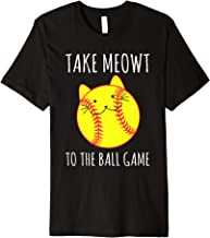Funny Cat Lovers Softball Gifts Take Meowt To The Ball Game Premium T-Shirt