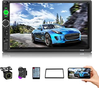 $61 » CAMECHO 7 Inch Touch Screen Car Stereo Double Din Car Radio with Bluetooth and Backup Camera, SWC, Remote Control, Car Mul...