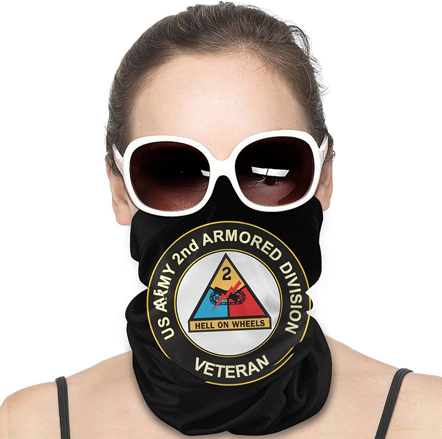 U.S. Army Veteran 2nd Armored Division Round Neck Gaiter Bandnas Face Cover Uv Protection Prevent bask in Ice Scarf Headbands Perfect for Motorcycle Cycling Running Festival Raves Outdoors