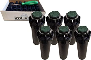Rain Bird 5000 Plus Series Pressure Regulator Seal-A-Matic Sprinkler Heads Bundle - 6 Pack 5004+PCSR SAM Rotors with IrriFix Nozzle Box Including 6 Nozzle Trees and 1 Rotortool Screwdriver