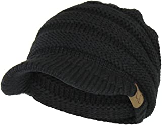 Warm Cable Ribbed Knit Beanie Hat w/Visor Brim – Chunky Winter Skully Cap