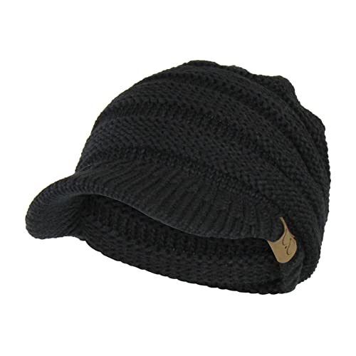 Warm Cable Ribbed Knit Beanie Hat w  Visor Brim – Chunky Winter Skully Cap 89f48cceb3a