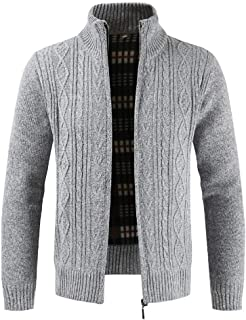 Daoroka Mens Jacket Men's Autumn Winter Zipper Outwear Tops Solid Stand Collar Sweater Cardigan Coats (L, Gray)
