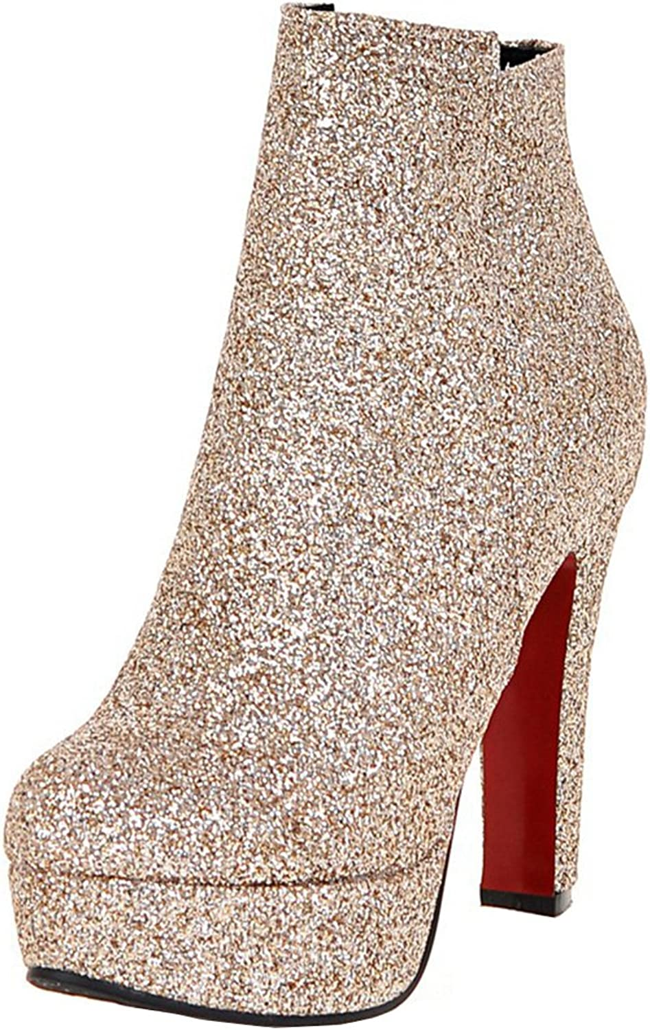 AIYOUMEI Women's Fashion Glitter Platform Zipper Bootie High Heels Solid Autumn Winter Ankle Boots with Sequins