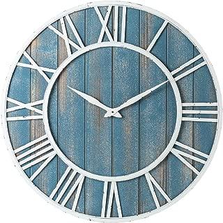 Oldtown Farmhouse Metal & Solid Wood Whisper Quiet Ticking Wall Clock (Coastal Blue, 36-inch)