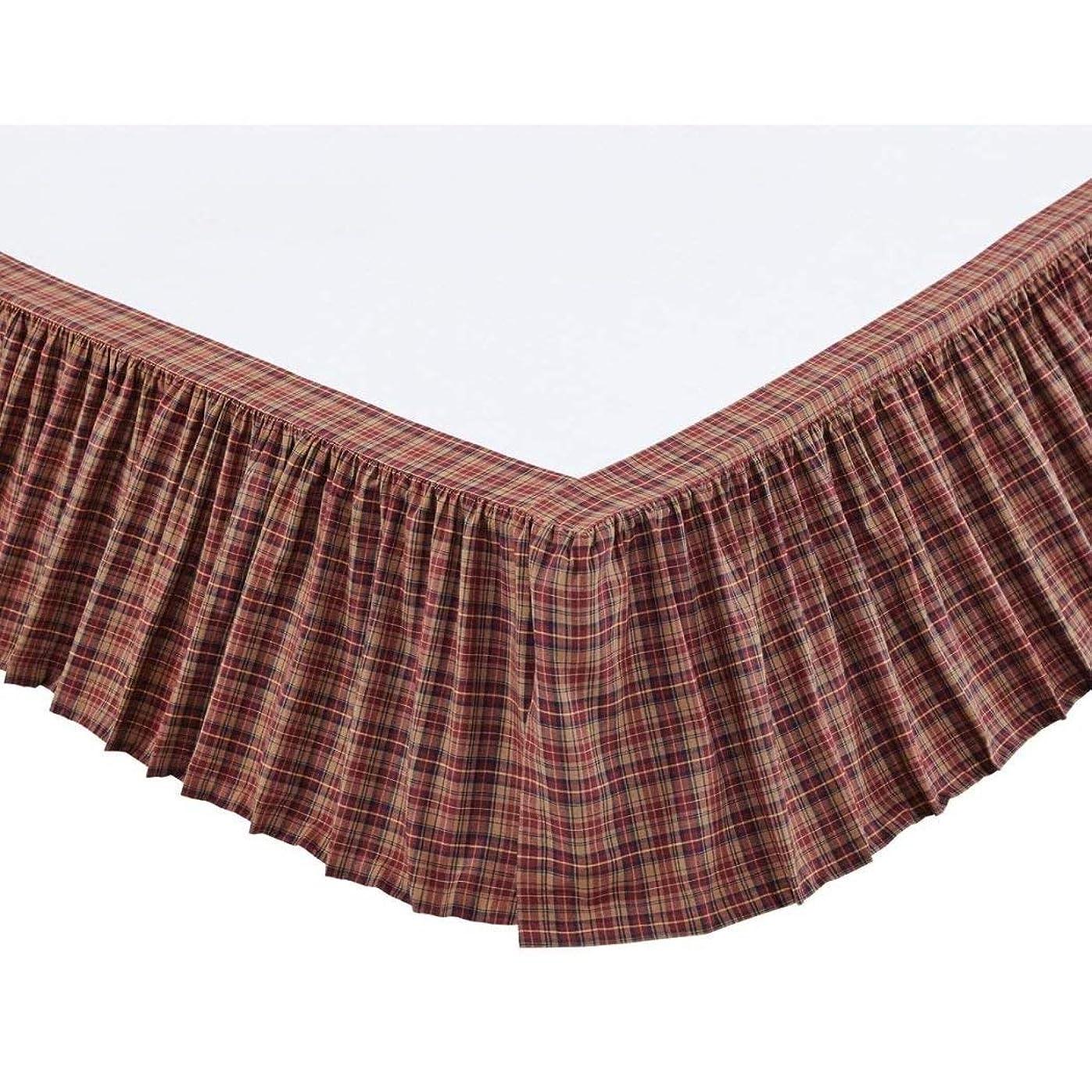 欺以下パースバーガンディネイビーカーキ格子柄ベッドスカート キングサイズ 16インチドロップ 高級レッドブルーギンガムチェック柄 フリル付きベッドスカート カジュアルキャビンスタイルベッドスカート 鮮やかな色 超ソフトコットン