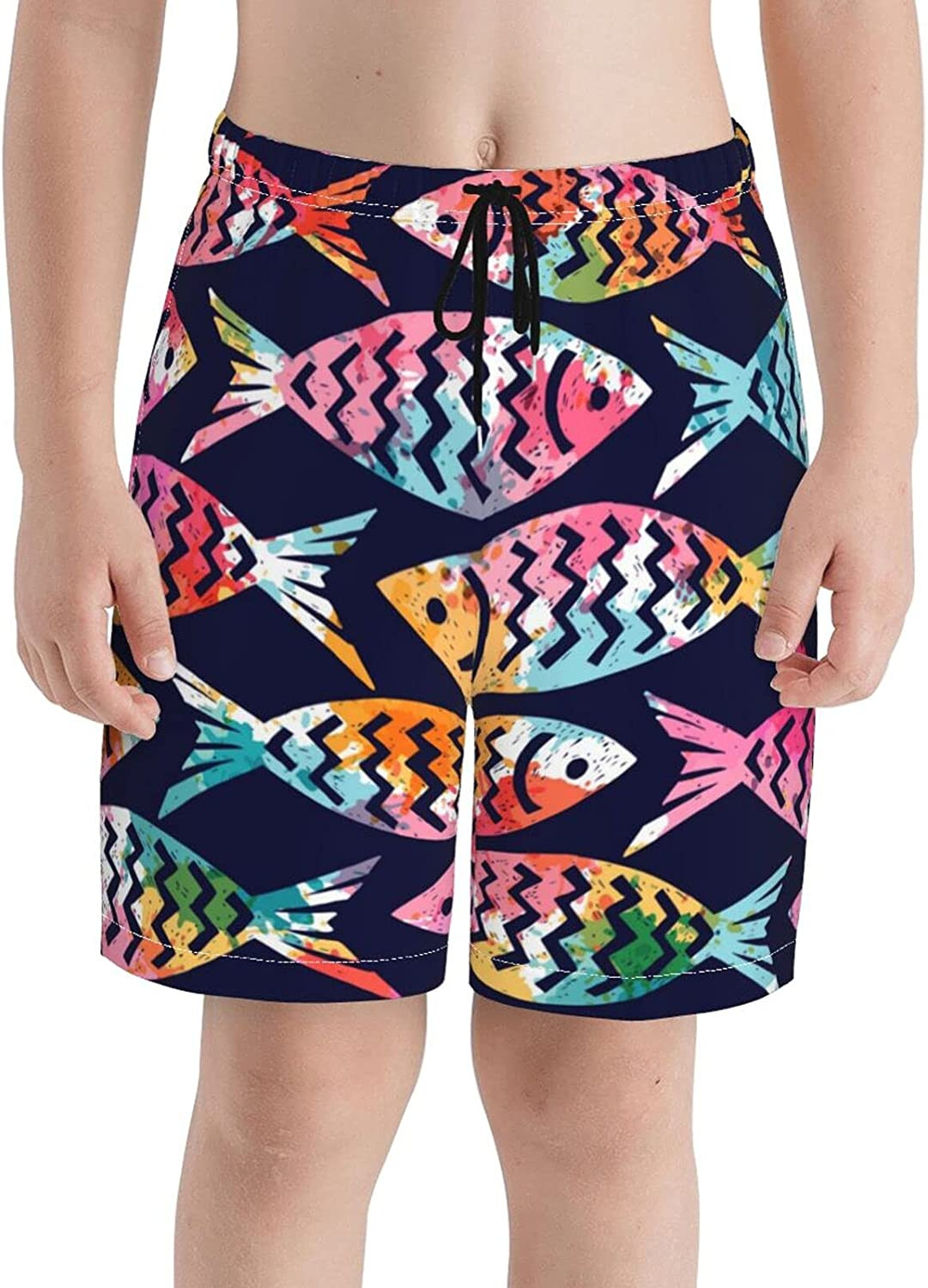 Fairy UMI Colored Fish Boys Quick Dry Swim Trunks Youth Fashion Beach Surfing Board Shorts 7-20 Years