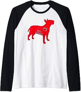 Bull Terrier heart silhouette Raglan Baseball Tee