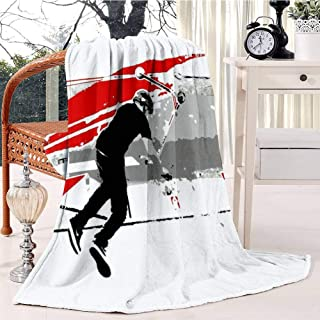 RECETHROWS Spinning The Deck Tail Whip Scooter Stunt Plush Throw Blanket Soft Receiving Blanket Bed Throws Christmas Sofa Shawl Blanket Kid Nursery Emergency Blanket for Living Room