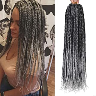 Alileader 6 Packs/Lot 22 Strands/Pack Ombre Box Braids Crochet Hair 30 Inch 1cm in Diameter 3X Synthetic Braiding Hair Extensions Crochet Braids Hair (Omber Grey)