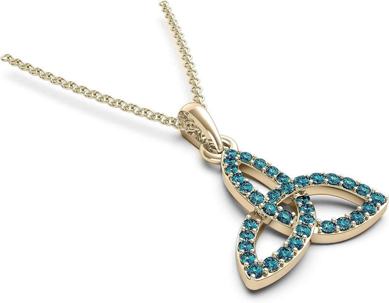 14K トレンド Gold 1 超人気 4 Cttw Rd Diamond Celtic for T Pendant Women Necklace
