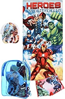 Marvel Boy's Avengers Swim Set in Backpack, Set of Towel, Cap and Swim Short (White, 10 Years)