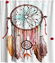 Watercolor Dream Catcher Shower Curtain Native American Theme Cloth Fabric Bathroom Decor Sets with Hooks Waterproof Washa...