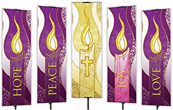 Beautiful Celebration Advent Banners. The set includes 5 banners; Hope, Peace, Joy, Love and the Cross.