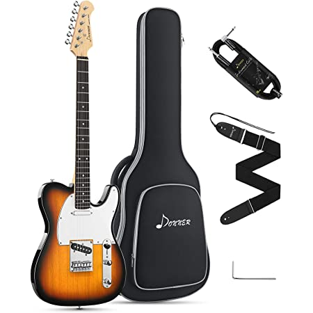 Strap Donner Solid Body LP Style Electric Guitar Kit Full-Size 39 Inch for Beginner with Bag Sunburst, DLP-124S Cable