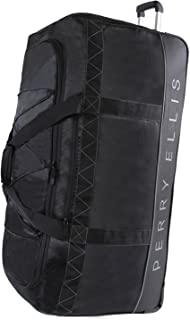 "Perry Ellis Extra Large 35"" Rolling Duffel Bag - A335, Black/Grey (black) - PE-WD-A335-BKGY"