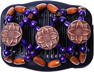 Yesbaby Vintage Women Tribal Magic Hair Comb Elastic Double Bead Comb Hair Clips for Girls (Color : Purple)