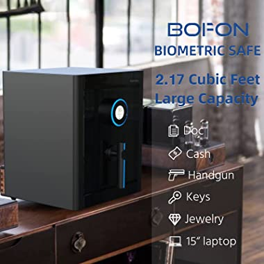 BOFON S-Series 2.17Cubic feet Family Fingerprint Password Safe Box with Key,Pistol,Lock Box,Case Box,Gun Safe,Jewelry safe,Ca