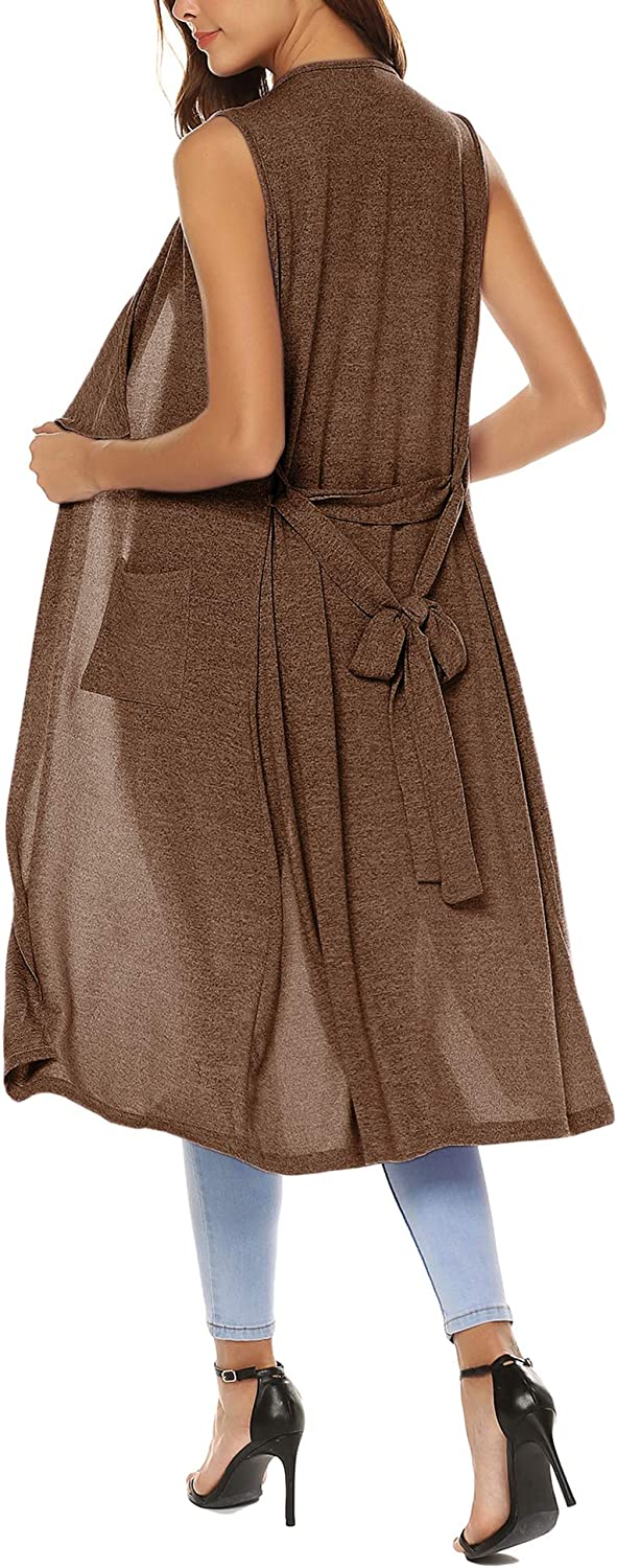 URRU Womens Casual Sleeveless Open Front Cardigan Sweater Vest with Pockets and Belt
