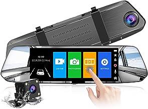 【2021 Nuova Versione】CHORTAU Telecamera per Auto da 7 pollici Touchscreen Full HD 1080P, Telecamera Grandangolare Anteriore e Telecamera Posteriore impermeabile, con Sistema di Monitoraggio Inverso