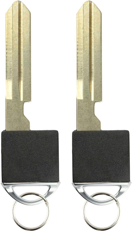 KeylessOption Keyless Entry Remote Fob Emergency Insert Key Uncut Blade Blank No Chip for Nissan Infiniti Smart (Pack of 2)