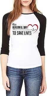 Topcloset Women's It's A Beautiful Day to Save Lives Baseball Shirt