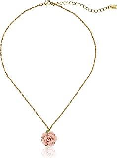 1928 Jewelry Gold-Tone Porcelain Rose Pendant Necklace, 16