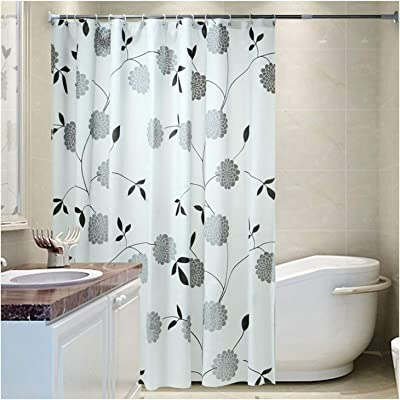 Gnzoe Floral Shower Curtains for Bathroom, Polyester Shower Curtain Home Decor Bathroom Accessory White Gray, 48 x 80 inches