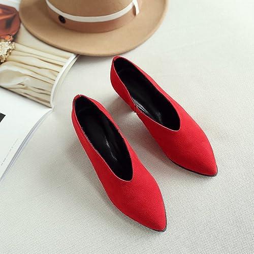 DHG Printemps Au Début du Printemps Talons Hauts Chaussures Paresseuses en Cuir Chaussures Femmes Frougeter Rugueux avec OL Chaussures,Rouge 5cm avec,36