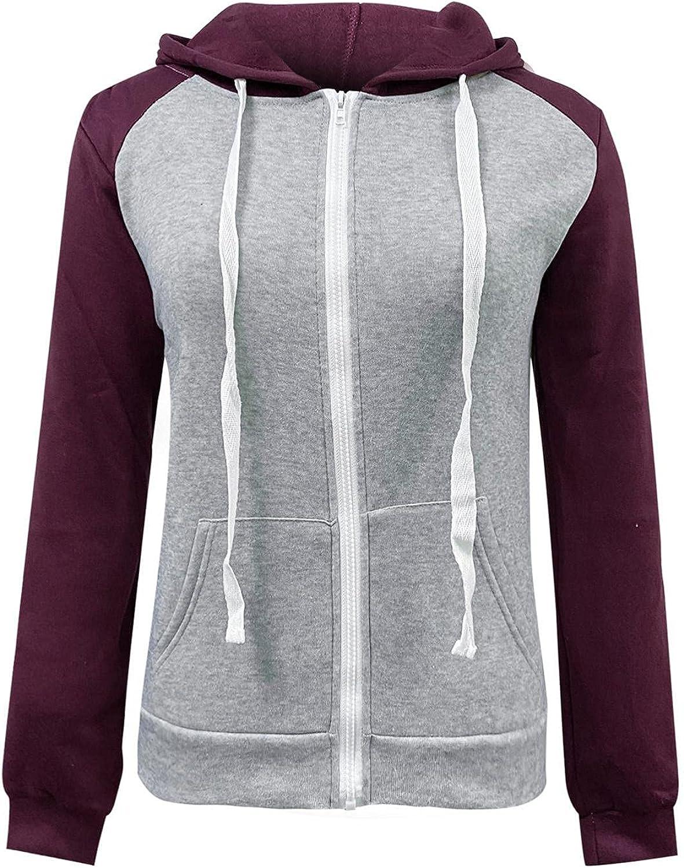 Fudule Zip Up Hoodies for Women, 2021 Fashion Lightweight Full-Zip Outerwear Raglan Sleeve Sweatshirts Fall Comfy Coat