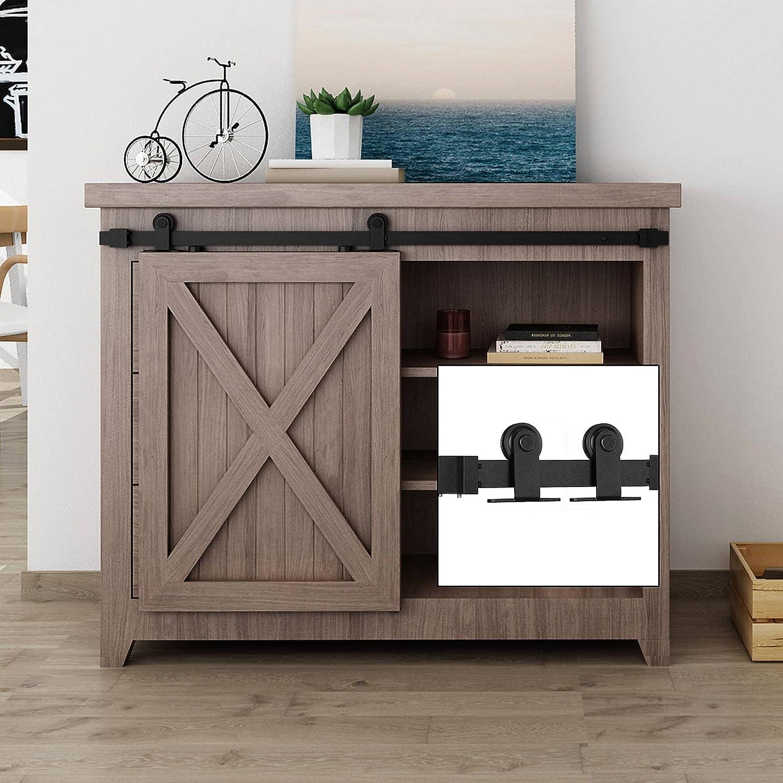 EaseLife 3.3 FT Portland Mall Cabinet Mini Top Sliding Austin Mall Barn Door Hardwar Mount