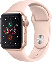 Apple Watch Series 5 (GPS, 40mm) - Gold Aluminum Case with Pink Sport Band (Renewed)