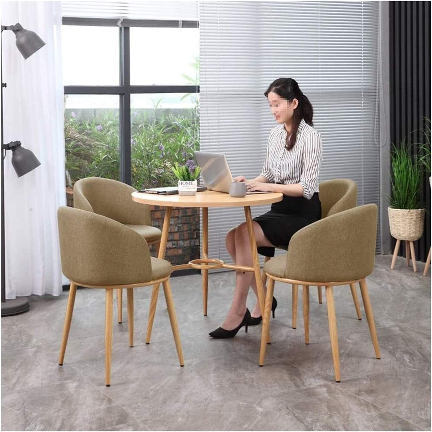 Ranking integrated 1st place Round Dining Table and Chair Sale price of 5 Set