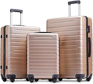 Flieks Luggage Sets 3 Piece Spinner Suitcase Lightweight 20 24 28 inch (Champagne Gold)
