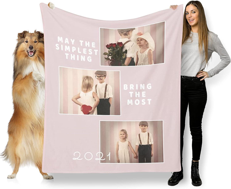 L LULUJAY half Family Custom with Photos Washington Mall Personalized Blanket