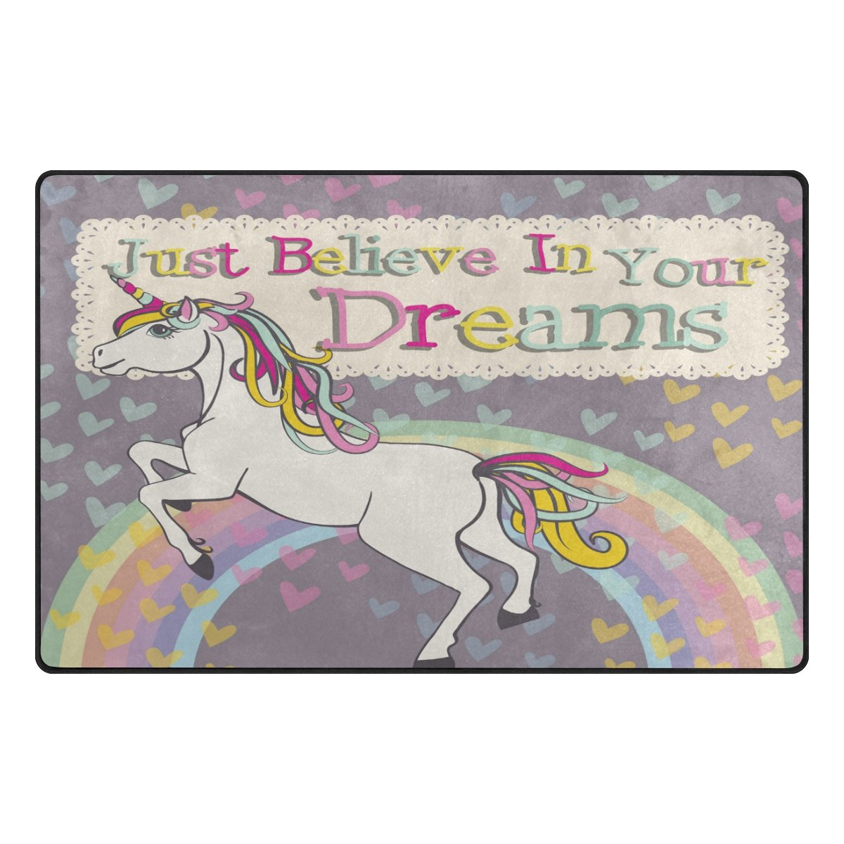48 x 63 Inches // 120 x 160 cm Rainbow Unicorn Nursery Rug Floor Carpet Yoga Mat 4 x 5 Naanle Unicorn Non Slip Area Rug for Living Dinning Room Bedroom Kitchen