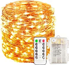 Poplar Fairy Lights Battery Operated with Remote Control Timer Waterproof Copper Wire Twinkle String Lights for Bedroom Indoor Outdoor (Warm White)