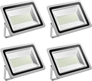 SUNCOO 4 Packs LED Flood Lights, 300W 24000LM Daylight Outdoor LED Floodlight, IP65 Waterproof LED Flood Light Outdoor, Indoor for Garage, Patio, Playground, Stadium, 6000-6500 K (Cold White)