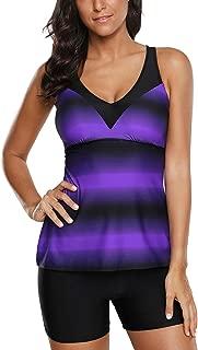 Swimsuits for Women Criss Cross Two Piece Tankini Top with Boyshorts S-XXXL