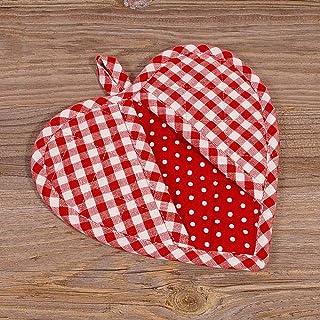 matches21 Cotone Sottopentola a Forma di Cuore a Quadretti 20 x 20 cm in 2 Colori Stile Rustico Colore: Rosso